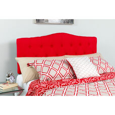 Cambridge Tufted Upholstered King Size Headboard in Red Fabric
