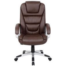 High Back Executive LeatherPLUS Chair with Padded Arms - Brown