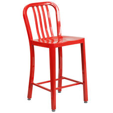 """Commercial Grade 24"""" High Red Metal Indoor-Outdoor Counter Height Stool with Vertical Slat Back"""
