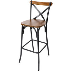 Henry Black Metal Cross Back Barstool - Autumn Ash Wood Seat