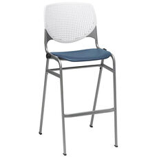 2300 KOOL Series Stacking Poly Armless Barstool with White Perforated Back and Navy Seat