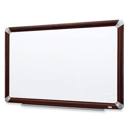 3M Dry -Erase Board - Melamine - Mahogany Frame