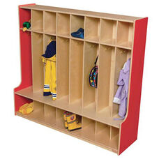 Strawberry Red 8-Section Seat Lockers with Two Coat Hooks in Each Section - Assembled - 54