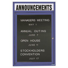 1 Door Outdoor Illuminated Enclosed Directory Board with Header and Blue Anodized Aluminum Frame - 36