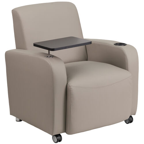 Our Gray Leather Guest Chair with Tablet Arm, Front Wheel Casters and Cup Holder is on sale now.