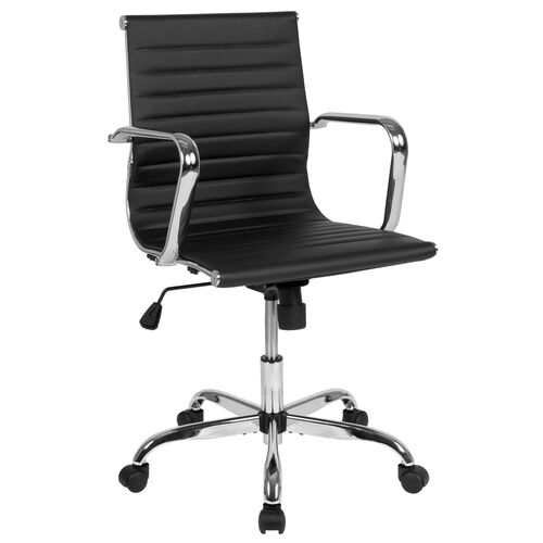 Our Mid-Back Black LeatherSoft Mid-Century Modern Ribbed Swivel Office Chair with Spring-Tilt Control and Arms is on sale now.