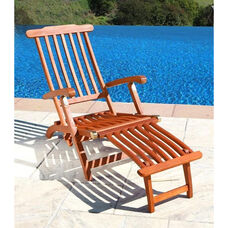 Malibu Outdoor Wood Folding Steamer Lounge Armchair
