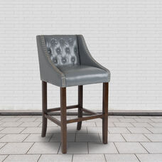 """Carmel Series 30"""" High Transitional Tufted Walnut Barstool with Accent Nail Trim in Light Gray LeatherSoft"""