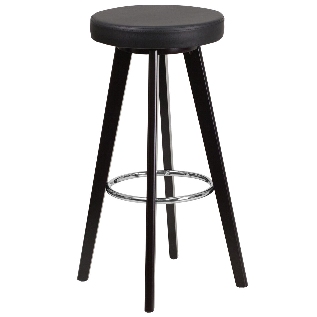 Our Ton Series 29 High Contemporary Cuccino Wood Barstool With Black Vinyl Seat Is