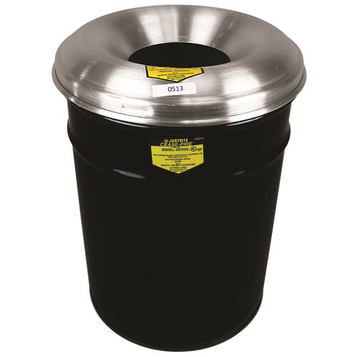 Cease-Fire® Safety Drum 15 Gallon Waste Receptacle with Aluminum Head - Black