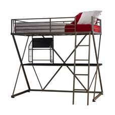 Student Twin Size Loft Bed - Pewter
