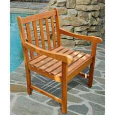 Malibu Outdoor Wood Garden Armchair with Straight Slat Back