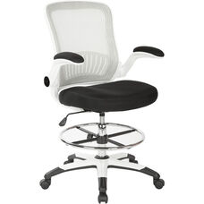 Work Smart Mesh Back Drafting Chair with Mesh Seat and Adjustable Footring - Black