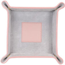 Suede Lined Catchall Valet Tray - Top Grain Nappa Leather - Carnation Pink and Gray