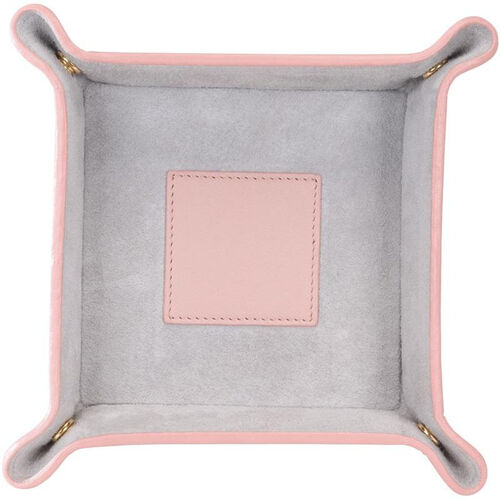 Our Suede Lined Catchall Valet Tray - Top Grain Nappa Leather - Carnation Pink and Gray is on sale now.