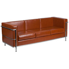 HERCULES Regal Series Contemporary Cognac Leather Sofa with Encasing Frame