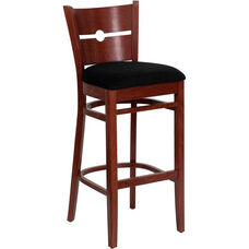 Coin Back Bar Stool in Mahogany Wood Finish