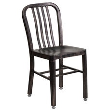 Black-Antique Gold Metal Indoor-Outdoor Chair