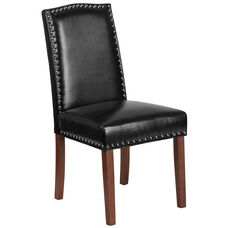 HERCULES Hampton Hill Series Black Leather Parsons Chair with Silver Accent Nail Trim