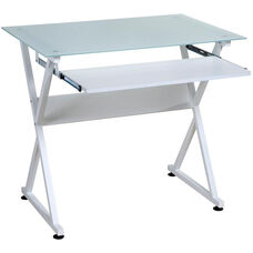 OneSpace Ultramodern Glass Computer Desk - White