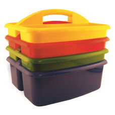 4 Pack of Assorted Colors Large Art Caddy with Two Compartments - 12.5