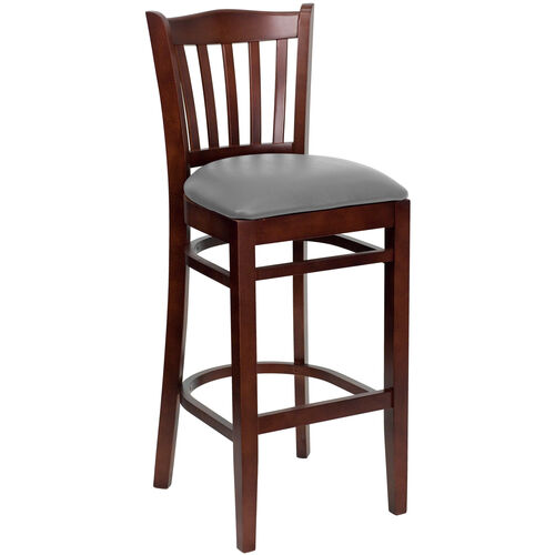 Our Mahogany Finished Vertical Slat Back Wooden Restaurant Barstool with Custom Upholstered Seat is on sale now.