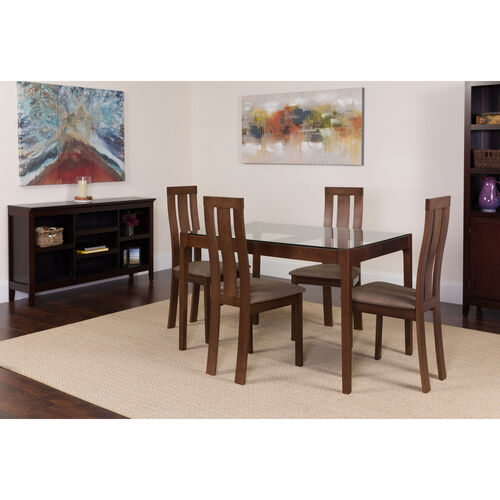 Our Gridley 5 Piece Espresso Wood Dining Table Set with Glass Top and Vertical Wide Slat Back Wood Dining Chairs - Padded Seats is on sale now.
