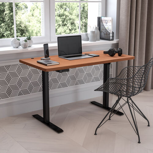 """Electric Height Adjustable Standing Desk - Table Top 48"""" Wide - 24"""" Deep (Mahogany)"""