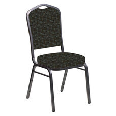 Embroidered Crown Back Banquet Chair in Empire Chocaqua Fabric - Silver Vein Frame
