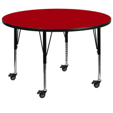 Mobile 60'' Round Red Thermal Laminate Activity Table - Height Adjustable Short Legs