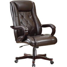 Inspired By Bassett Chapman Thick Padded Executive Chair with Wood Accents - Espresso