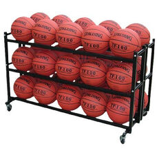 Double Wide Steel Frame Ball Cart with Casters - Black
