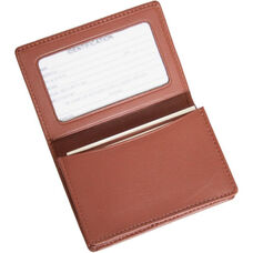 Business Card Holder with ID Display - Top Grain Nappa Leather - Tan