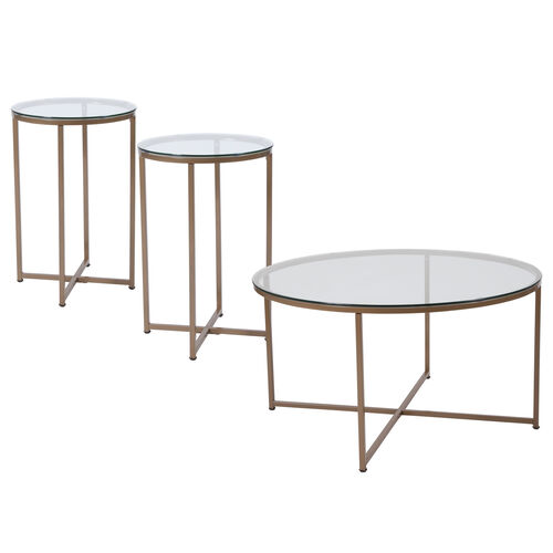 Greenwich Collection Coffee and End Table Set - Glass Top with Metal Frame - 3 Piece Occasional Table Set