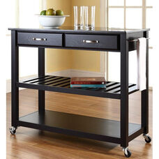 Solid Black Granite Top Kitchen Island Cart - Black Finish