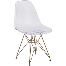 Elon Series Ghost Chair with Gold Metal Base