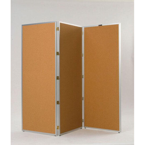 Our 725 Series 3 Section Aluminum Frame Folding Screen with Tan Nucork Panels - 72