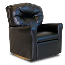Kids Faux Leather Contemporary Rocker Recliner with Tufted Back - Black
