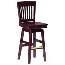 1997 Bar Stool w/ Wood Swivel Seat and Brass Trim on Foot Rest