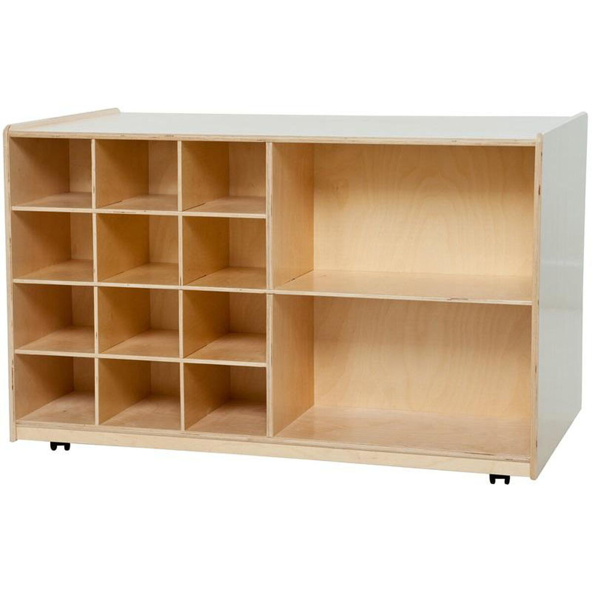 Wood Designs Wooden Double Sided Storage Unit With 5 Shelves And 12 Lime Green Plastic Trays