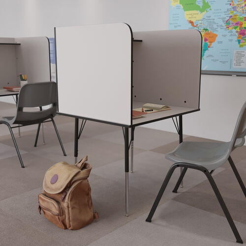 Stand-Alone Study Carrel with Top Shelf - Height Adjustable Legs and Wire Management Grommet