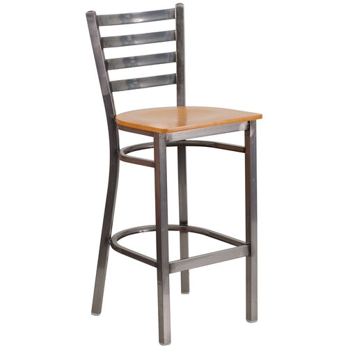 Our Clear Coated Ladder Back Metal Restaurant Barstool with Natural Wood Seat is on sale now.