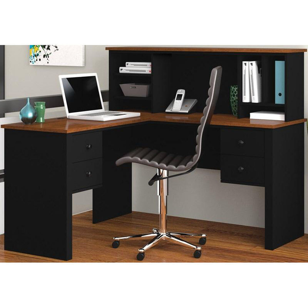 Our Somerville L Shaped Desk With Hutch And Drawers Black Tuscany Brown Is