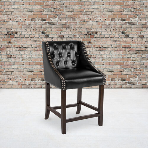 """Carmel Series 24"""" High Transitional Tufted Walnut Counter Height Stool with Accent Nail Trim in Black LeatherSoft"""