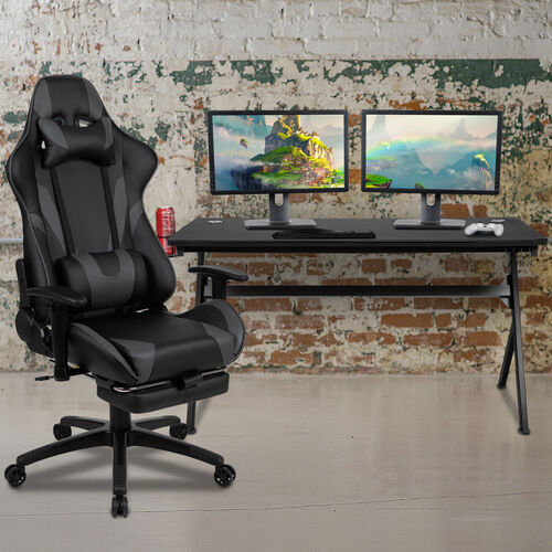 BlackArc Black Gaming Desk and Gray Footrest Reclining Gaming Chair Set - Cup Holder/Headphone Hook/Removable Mouse Pad Top/Wire Management