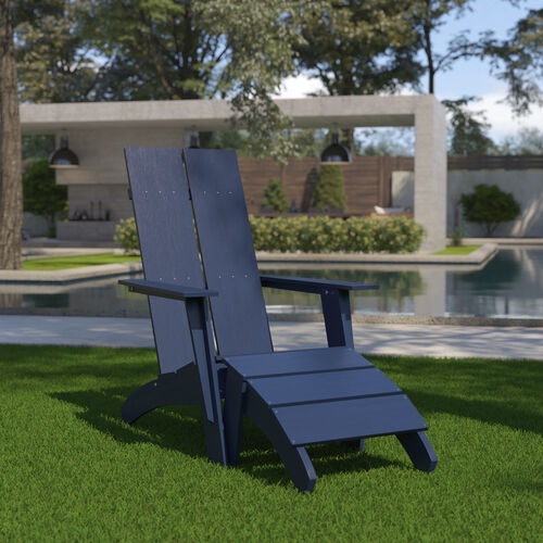 Sawyer Modern All-Weather Poly Resin Wood Adirondack Chair with Foot Restin Navy