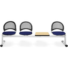 Moon 4-Beam Seating with 3 Navy Fabric Seats and 1 Table - Oak Finish