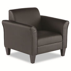 Alera® Reception Lounge Series Club Chair - Black/Black Leather
