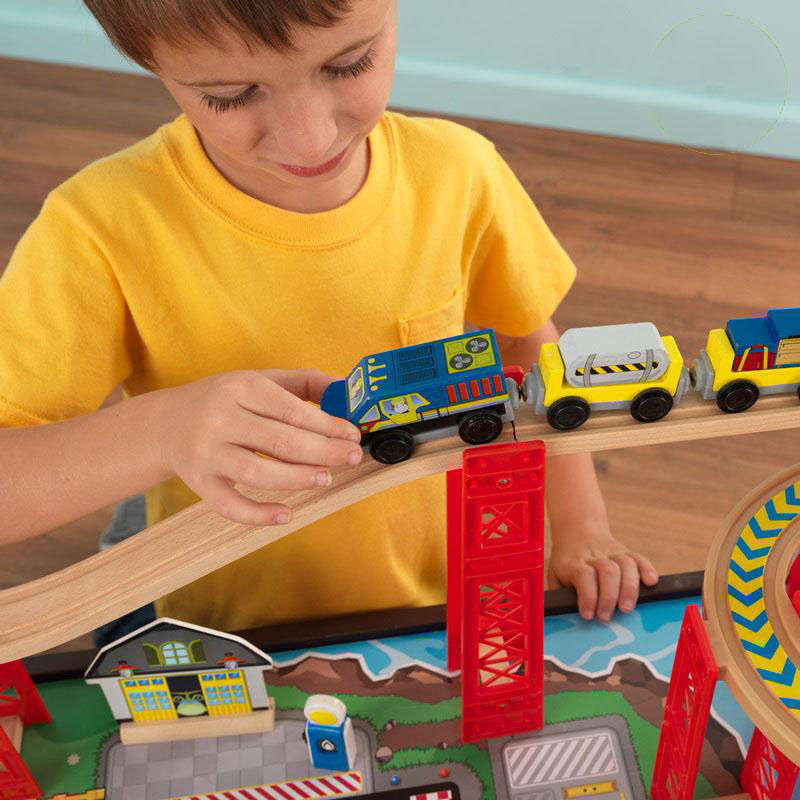 Amazing ... Our Kids Wooden Train Table And Airport Express Train Set With Two  Drawers For Storage Includes