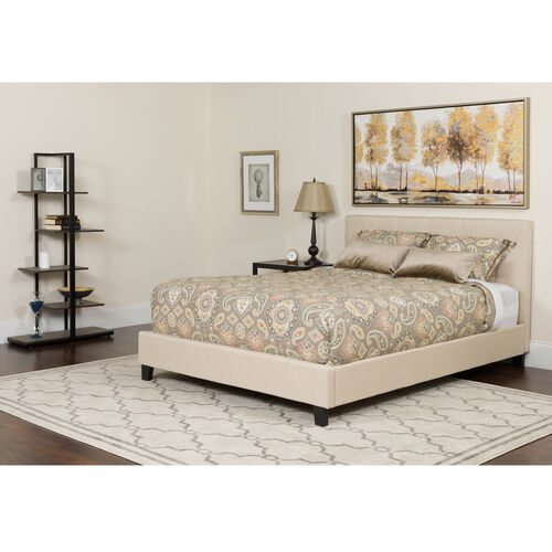 Our Chelsea Queen Size Upholstered Platform Bed in Beige Fabric with Memory Foam Mattress is on sale now.